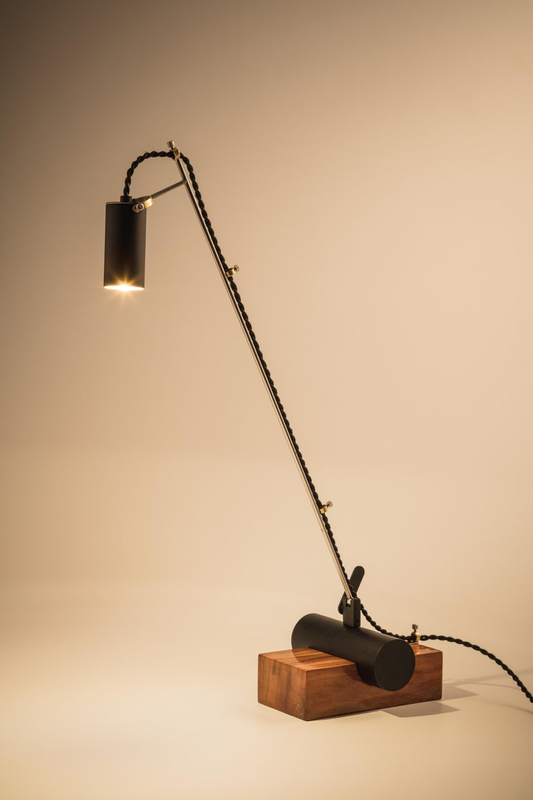 Contemporary Minimalist Table Lamp with Brazilian Hardwood Base For Sale 1