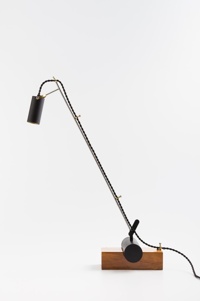 Contemporary Minimalist Table Lamp with Brazilian Hardwood Base For Sale 2