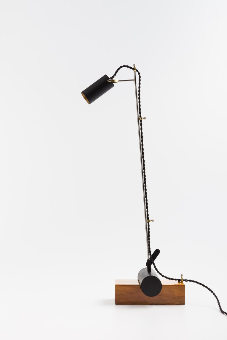 Contemporary Minimalist Table Lamp with Brazilian Hardwood Base For Sale 3
