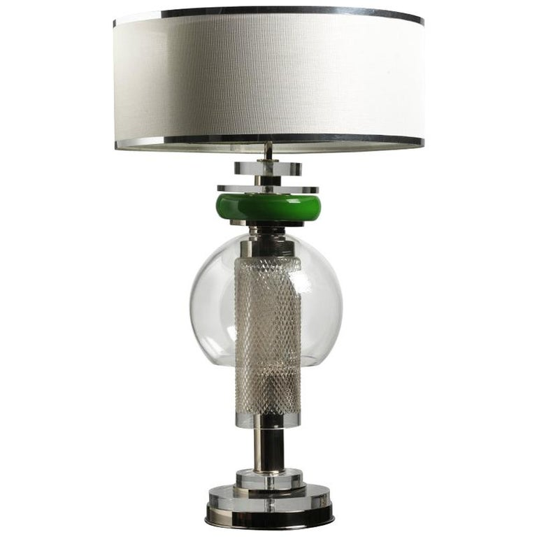 Contemporary Table Lamp Lampshade Crystal Brass Plexiglass For Sale