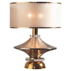 Contemporary Table Lamp Lampshade Majolica Brass Silver Gold Platinum-Plated