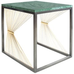 Contemporary Table with Marble, Brass and Steel, Handmade in Italy, Small