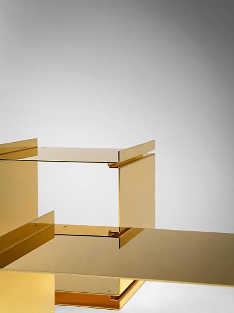 Modern Contemporary Tables of Interlocking Steel Elements, 24-Karat Gold-Plated For Sale