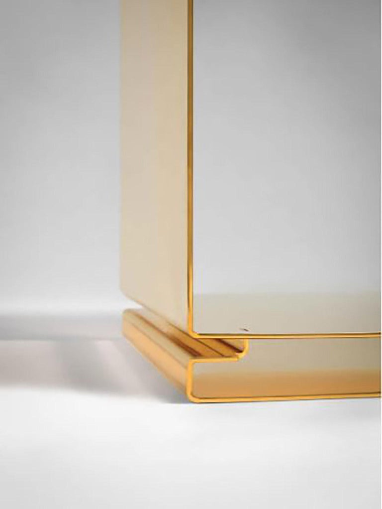 Italian Contemporary Tables of Interlocking Steel Elements, 24-Karat Gold-Plated For Sale