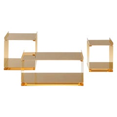 Contemporary Tables of Interlocking Steel Elements, 24-Karat Gold-Plated