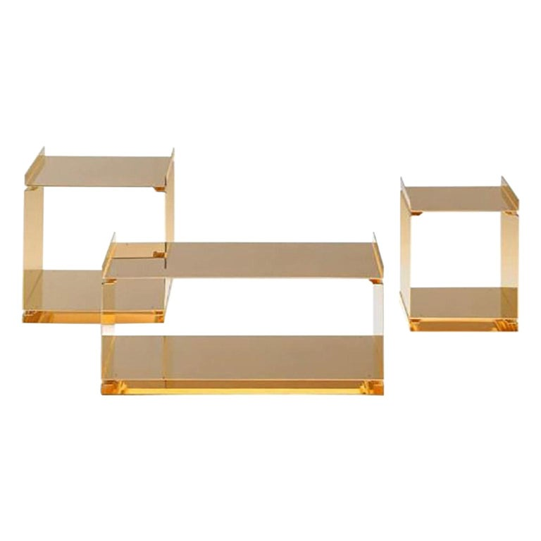 Contemporary Tables of Interlocking Steel Elements, 24-Karat Gold-Plated For Sale
