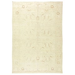 Contemporary Tabriz Beige Hand Knotted Wool Rug