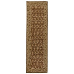 Contemporary Tabriz Design Brown and Beige Hand Knotted Wool Runner