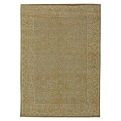 Contemporary Tabriz Design Light Brown and Beige Hand Knotted Wool Rug