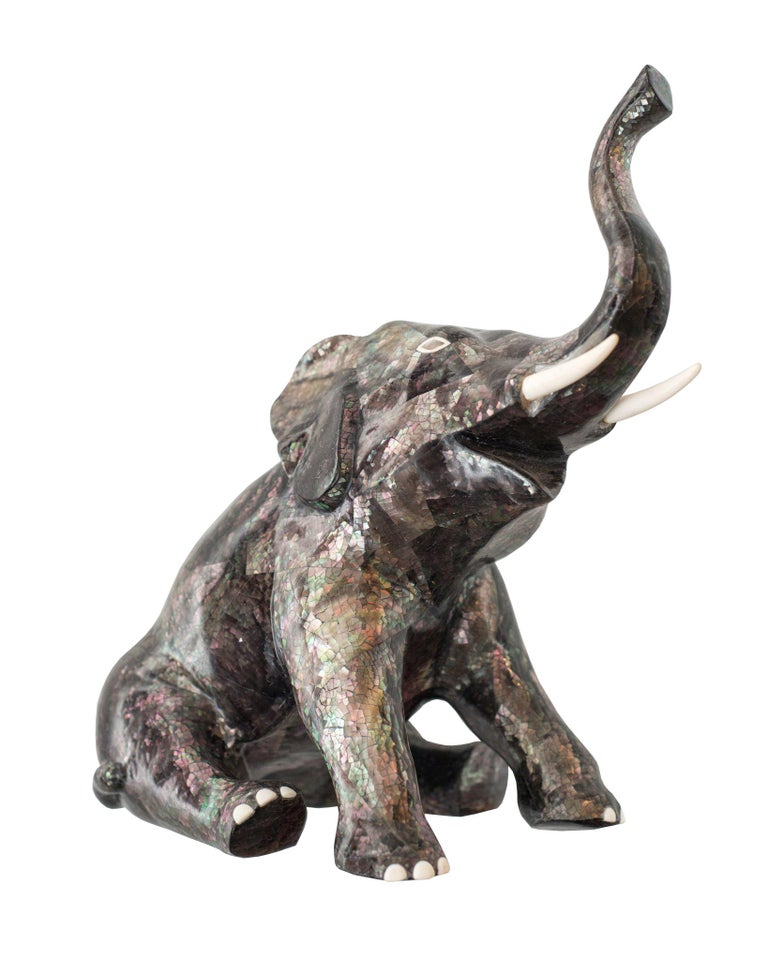 Contemporary Tahitian Mother Of Pearl And Bone Inlay Elephant Sculpture For Sale At 1stdibs