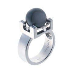 Contemporary Tahitian Pearl Diamond in 18 Karat White Gold Cocktail Ring