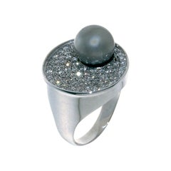 Contemporary Tahitian Pearl Pave Diamond in 18 Karat White Gold Cocktail Ring