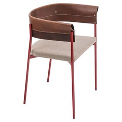 Contemporary Tailor Made Gomito Chair, Handcrafted Folded Leather Backrest
