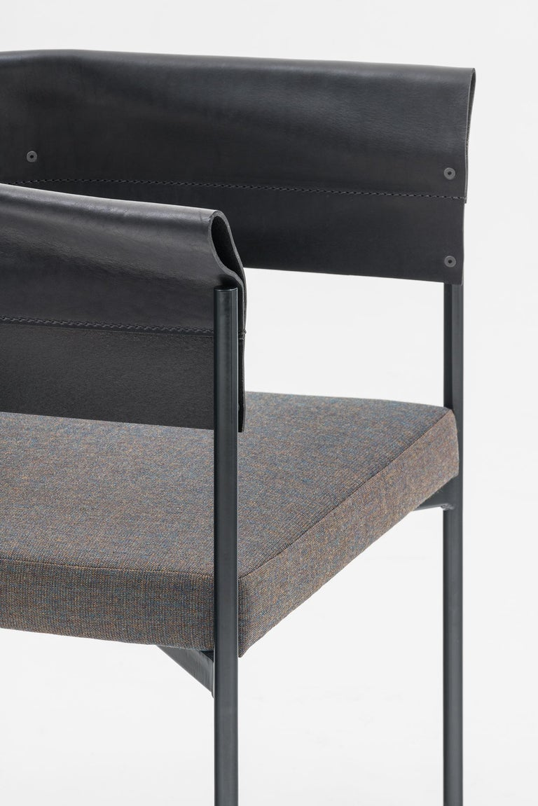 Modern Contemporary Tailor Made Gomito L Chair, Handcrafted Folded Leather Backrest For Sale