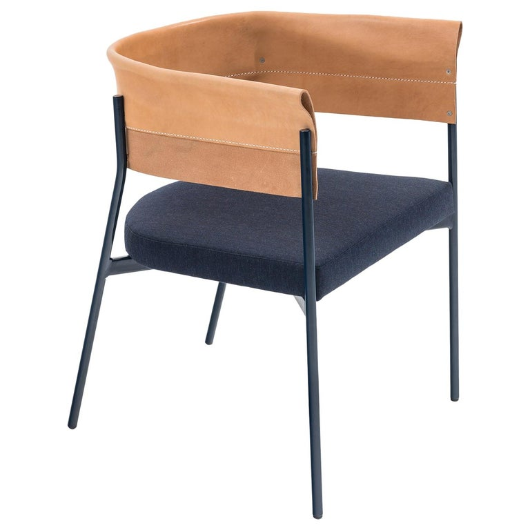 Contemporary Tailor Made GOMITO L Chair, Handcrafted Folded Leather Backrest For Sale