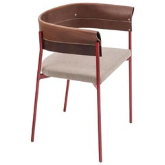 Contemporary Tailor Made Gomito L Chair, Handcrafted Folded Leather Backrest