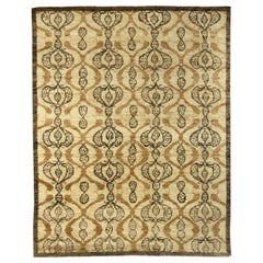 Contemporary Taj Brown Hand Knotted Wool Rug