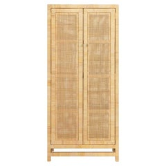 Contemporary Tall Cabinet, Handwoven Natural Rattan