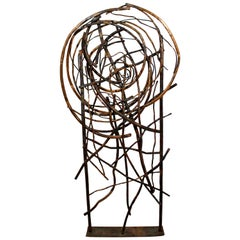 Contemporary Tall Forged Copper Metal Abstract Floor Sculpture by Robert Hansen