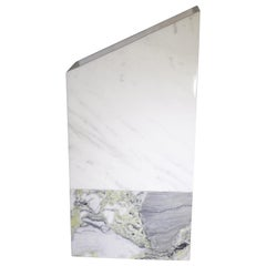 Contemporary Tall White and Grey Marble Vase