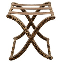 Contemporary Tan and Black Leopard Velvet Folding Table with Fine Rope Trim