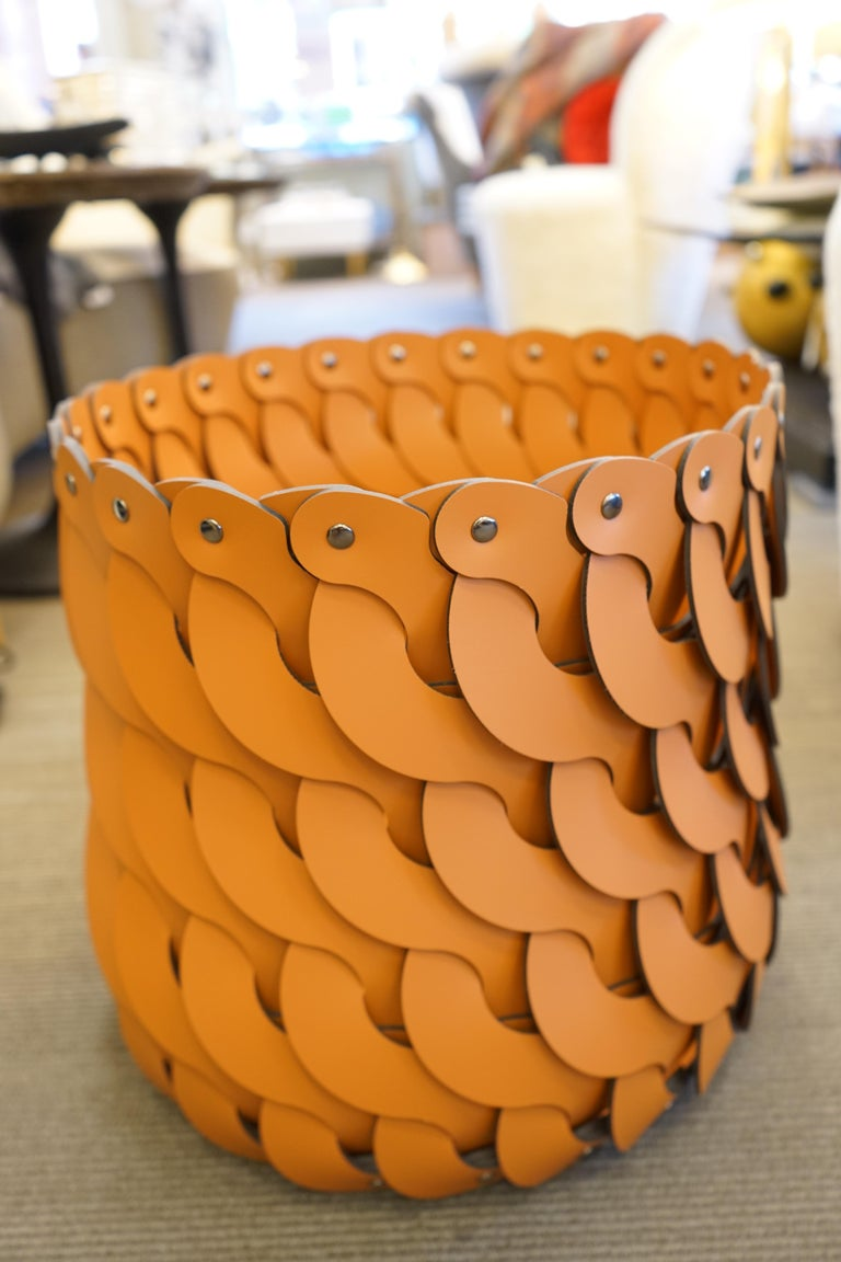 Italian Contemporary Tan Woven Leather Alicante Tall Basket For Sale