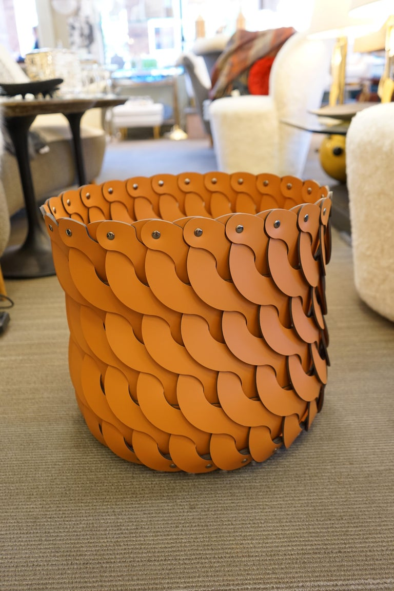 Contemporary Tan Woven Leather Alicante Tall Basket For Sale 1