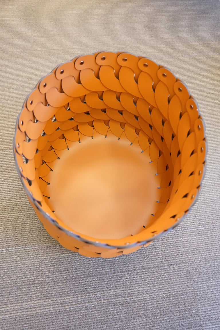 Contemporary Tan Woven Leather Alicante Tall Basket For Sale 2