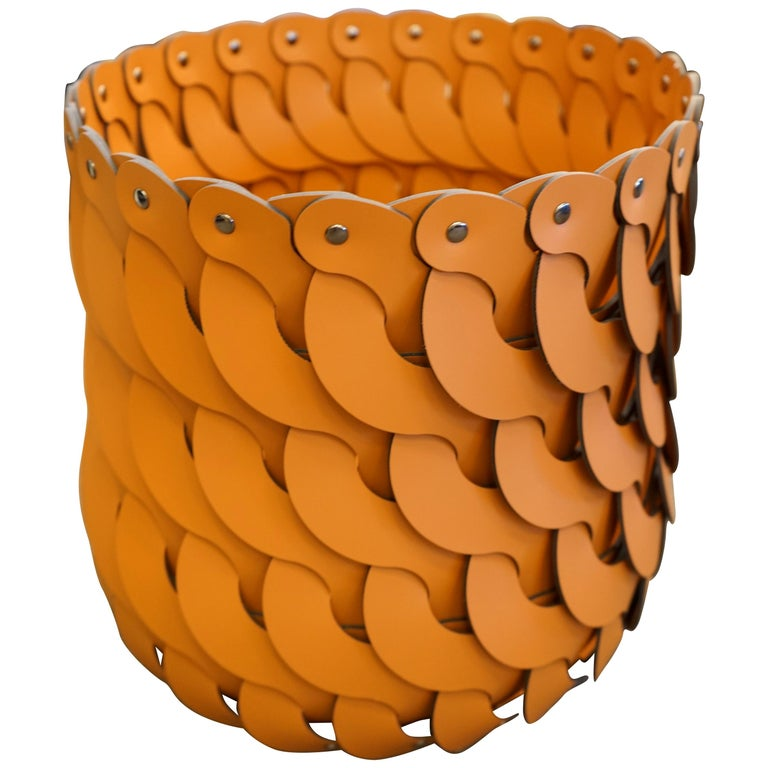 Contemporary Tan Woven Leather Alicante Tall Basket For Sale
