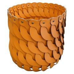 Contemporary Tan Woven Leather Pinetti Alicante Tall Basket