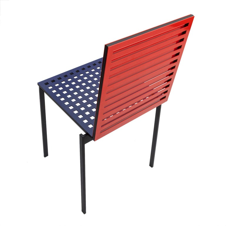 Metalwork Contemporary Tanit Classic Chair in Bicolored Aluminum, Manhattan Version For Sale