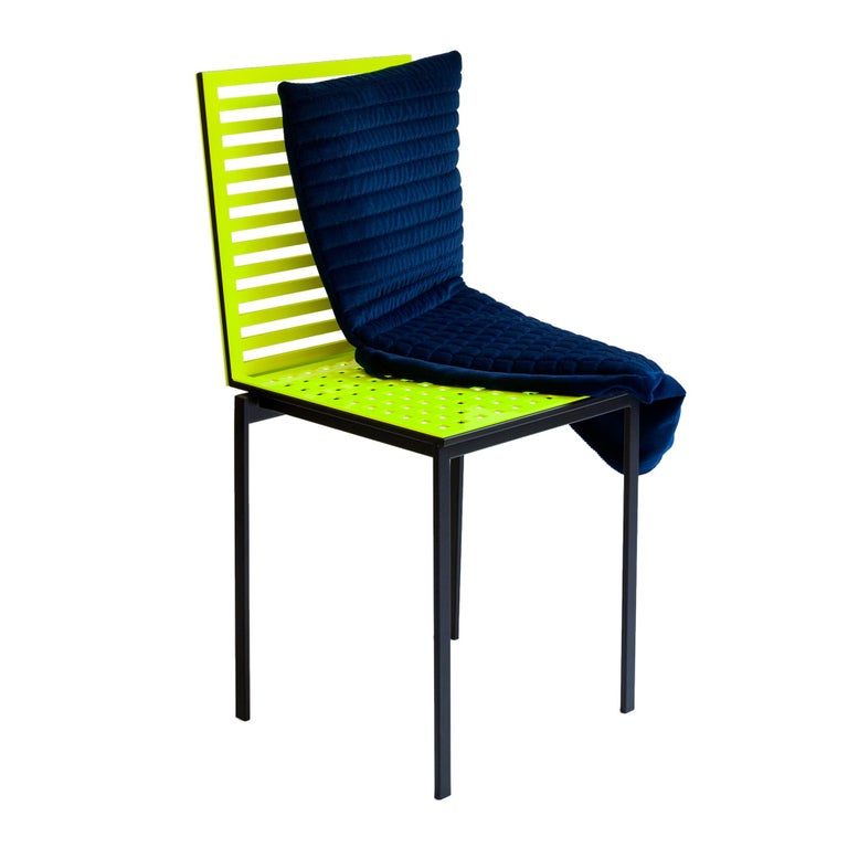 Contemporary Tanit Classic Chair in Yellow Fluorescent Coloured Aluminum For Sale 4