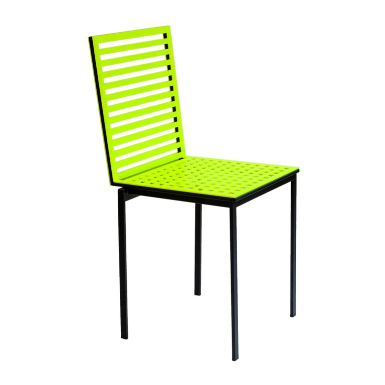 Mid-Century Modern Contemporary Tanit Classic Chair in Yellow Fluorescent Coloured Aluminum For Sale