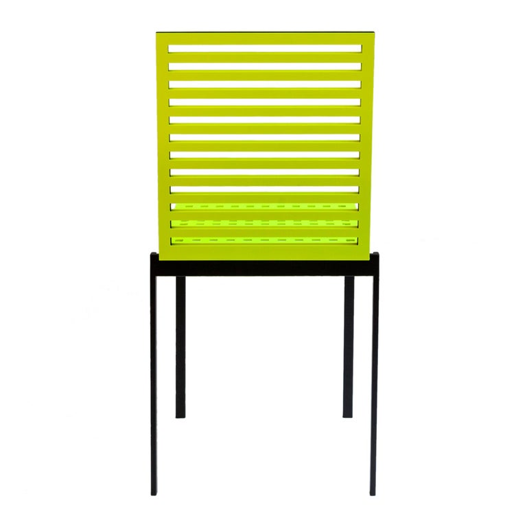 Italian Contemporary Tanit Classic Chair in Yellow Fluorescent Coloured Aluminum For Sale