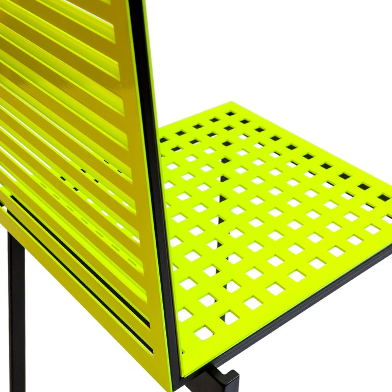 Metalwork Contemporary Tanit Classic Chair in Yellow Fluorescent Coloured Aluminum For Sale
