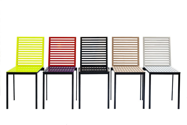 Contemporary Tanit Classic Chair in Yellow Fluorescent Coloured Aluminum For Sale 1