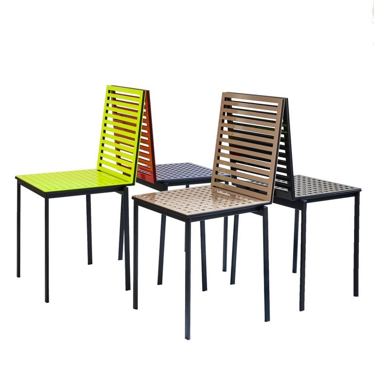 Contemporary Tanit Classic Chair in Yellow Fluorescent Coloured Aluminum For Sale 2