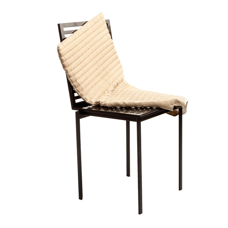 Contemporary Tanit Soft Chair with Beige Linen Cover For Sale 3