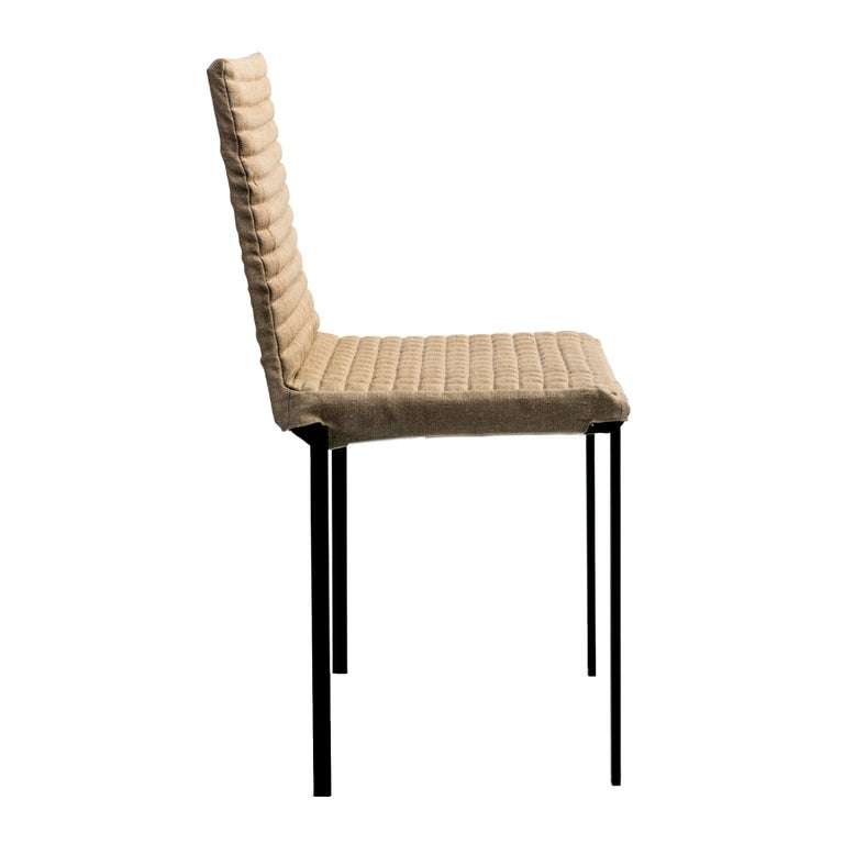 Mid-Century Modern Contemporary Tanit Soft Chair with Beige Linen Cover For Sale