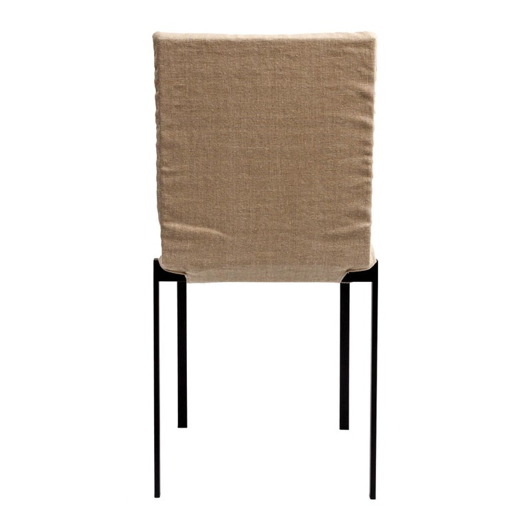 Italian Contemporary Tanit Soft Chair with Beige Linen Cover For Sale