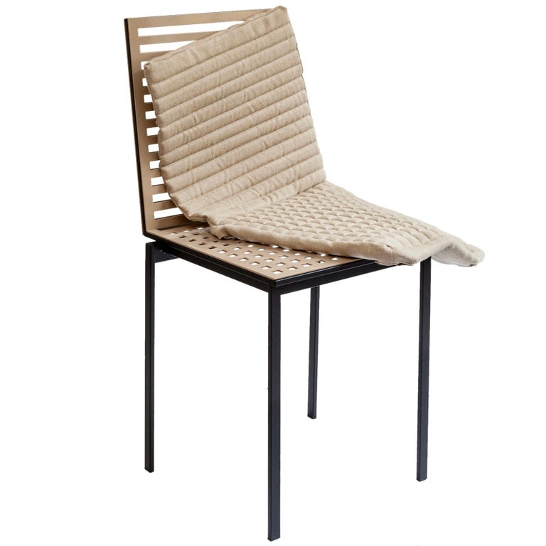 Contemporary Tanit Soft Chair with Beige Linen Cover For Sale 2