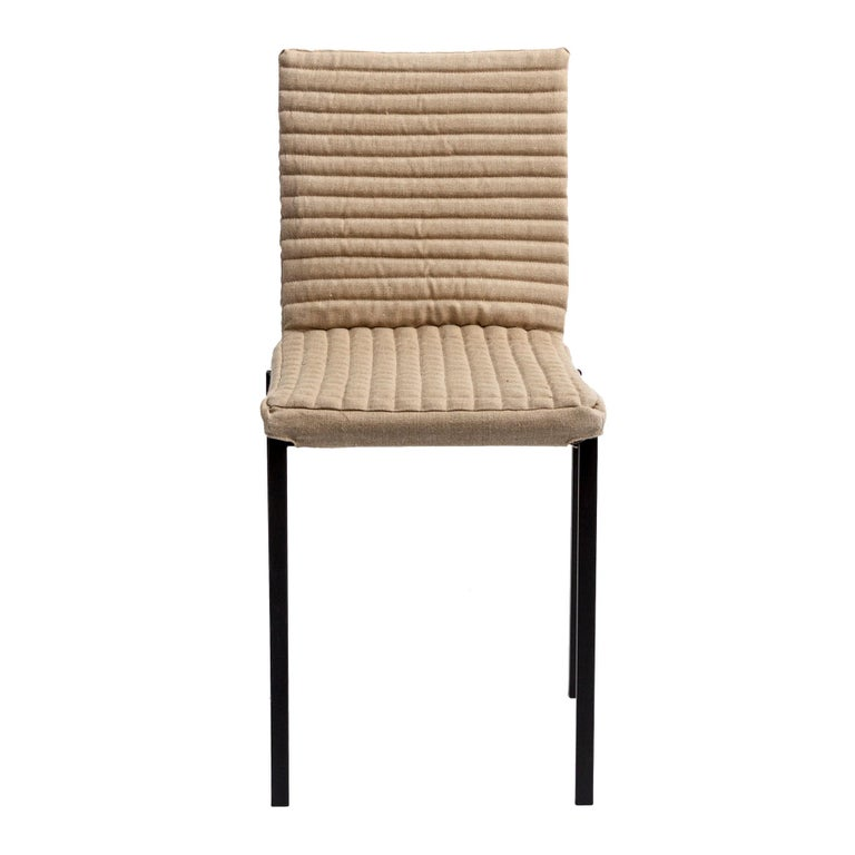 Contemporary Tanit Soft Chair with Beige Linen Cover For Sale