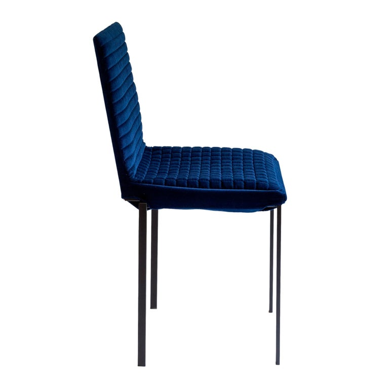 Mid-Century Modern Contemporary Tanit Soft Chair with Blue Velvet Cover For Sale