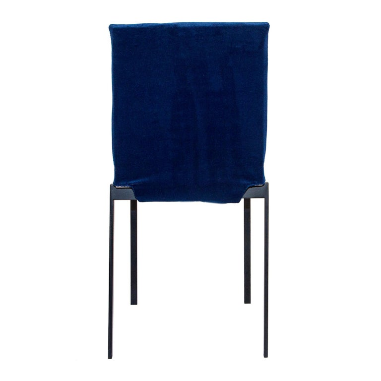 Italian Contemporary Tanit Soft Chair with Blue Velvet Cover For Sale
