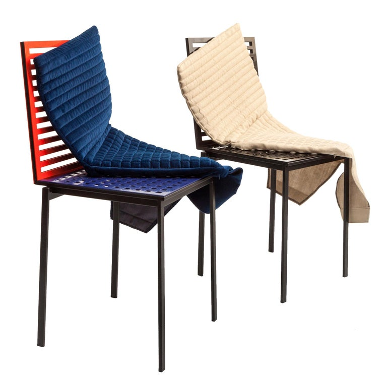 Contemporary Tanit Soft Chair with Blue Velvet Cover For Sale 1