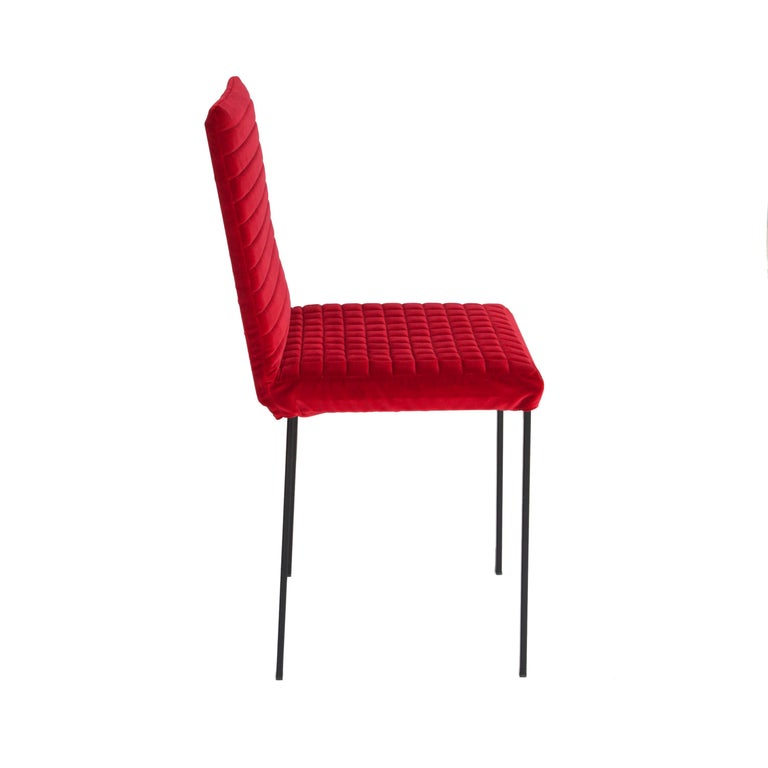 Mid-Century Modern Contemporary Tanit Soft Chair with Red Velvet Cover For Sale