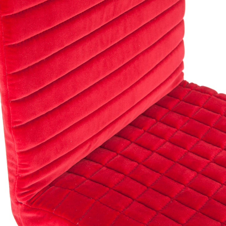 Italian Contemporary Tanit Soft Chair with Red Velvet Cover For Sale