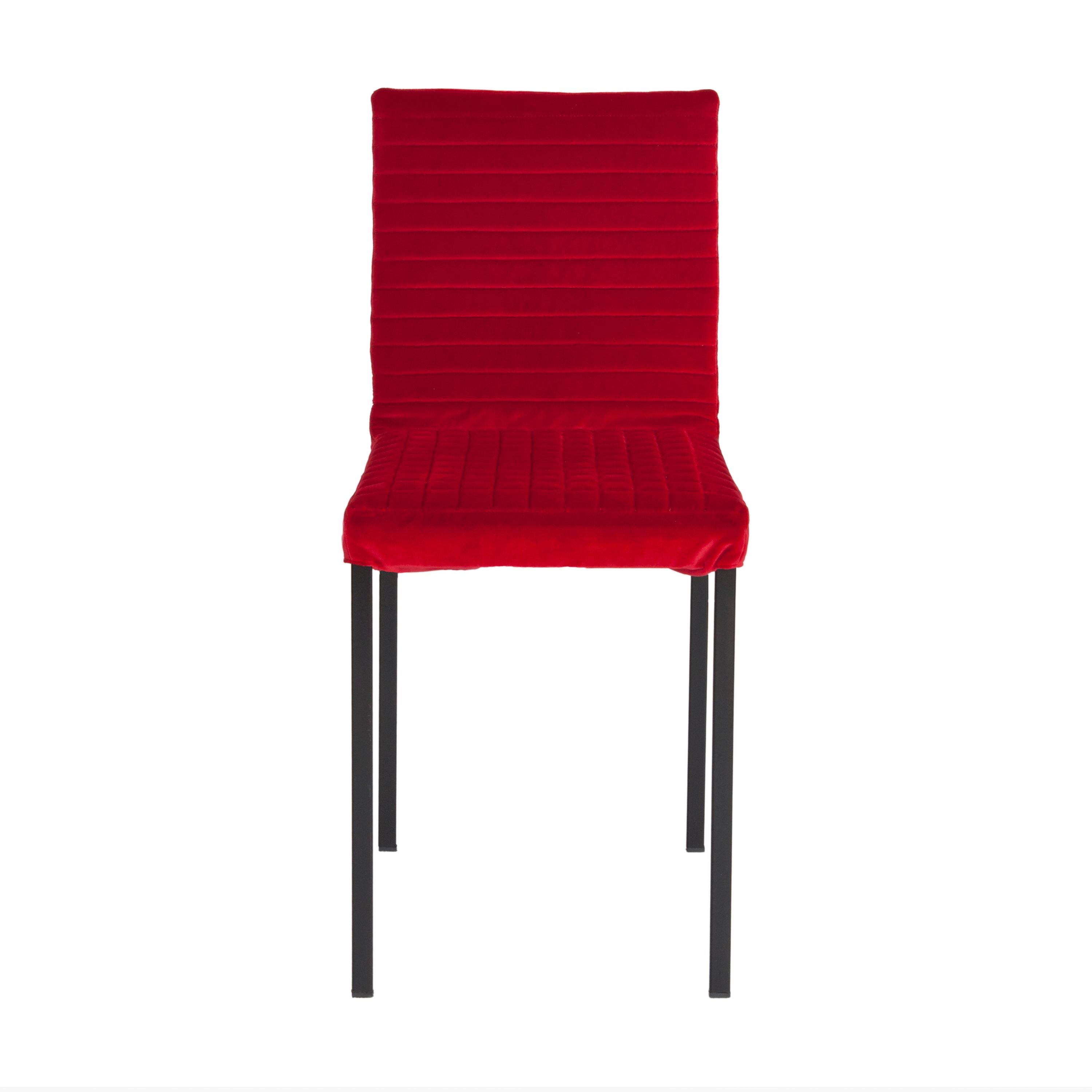 Contemporary Tanit Soft Chair with Red Velvet Cover