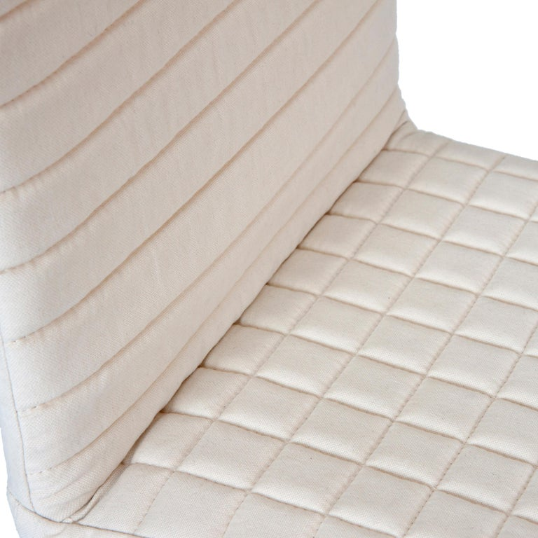 Italian Contemporary Tanit Soft Chair with White Linen Cover For Sale
