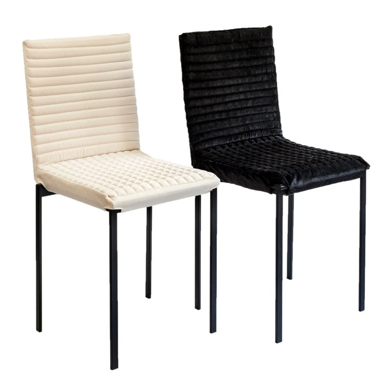 Metalwork Contemporary Tanit Soft Chair with White Linen Cover For Sale